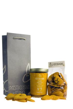 Geschenkenset met Pandoro, Asinello No.9, met Panpavedi koekjes en een orginele cadeauzak